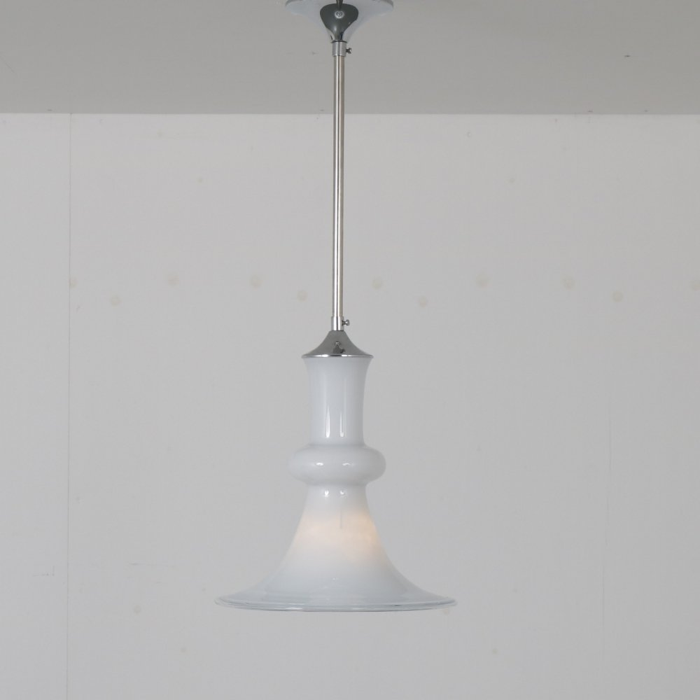 1970s Glass hanging lamp by Michael Bang for Holmegaard, Denmark