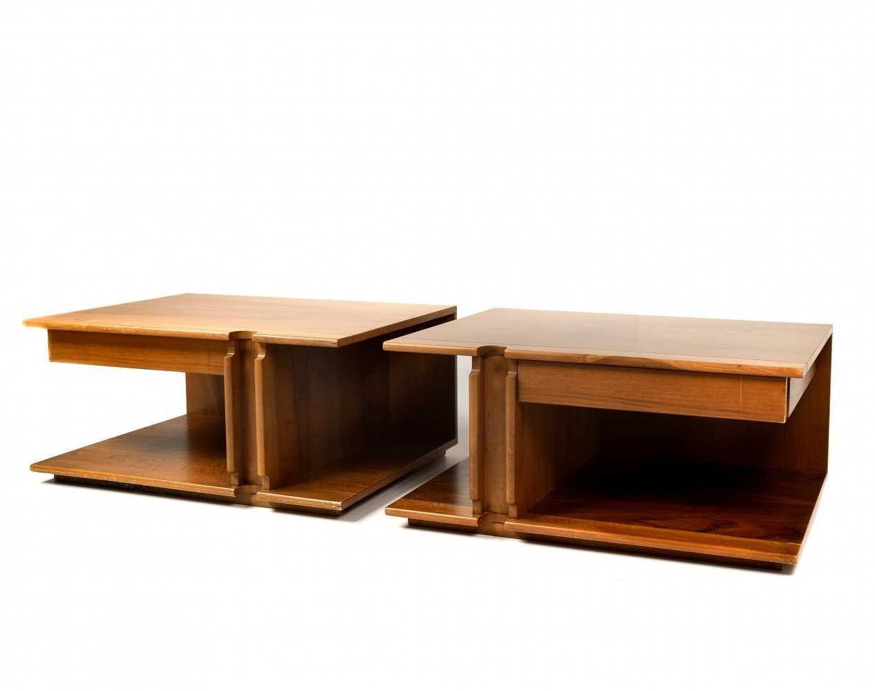 Pair Night Stands by Franco Poli for Bernini, Italy 1970s
