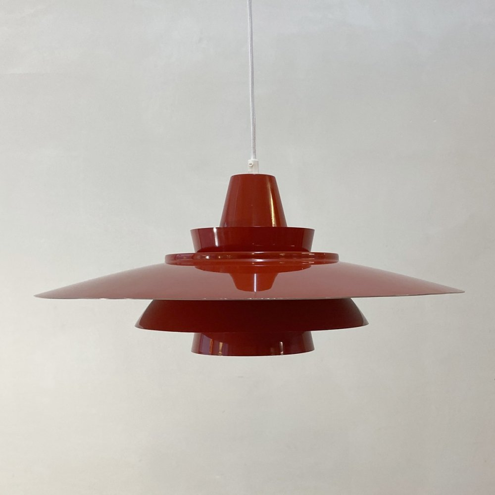 Red hanging lamp by Superlight Denmark, 1970s