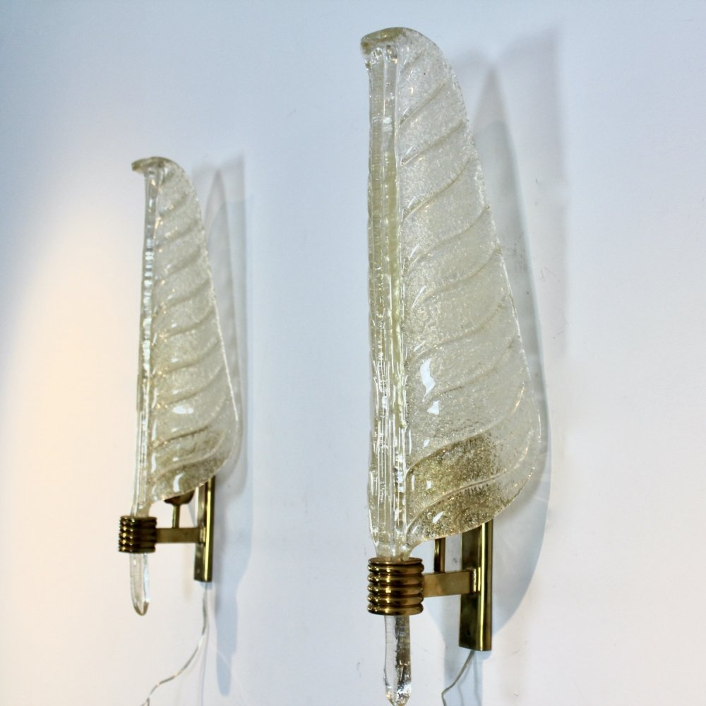 Pair of XL Murano 24kt Gold Flaked Glass Leaf Sconces by Barovier & Toso