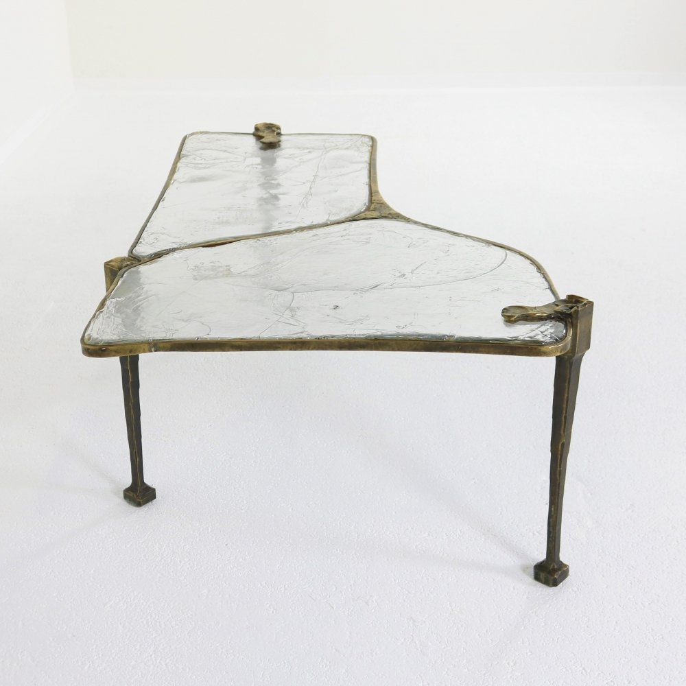Handmade coffee table by Lothar Klute marked with initials & year 1987