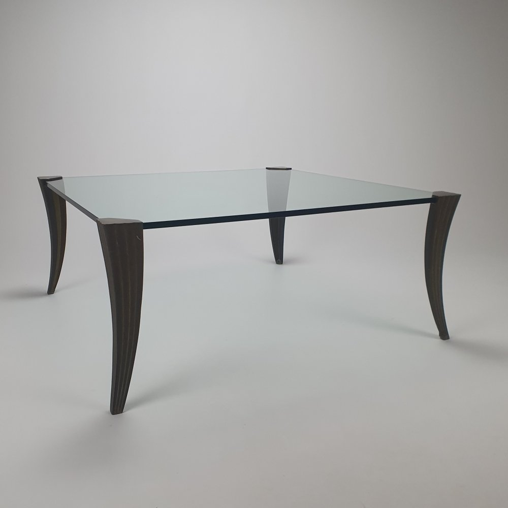 Brass & Glass Coffeetable by Peter Ghyczy, 1970s
