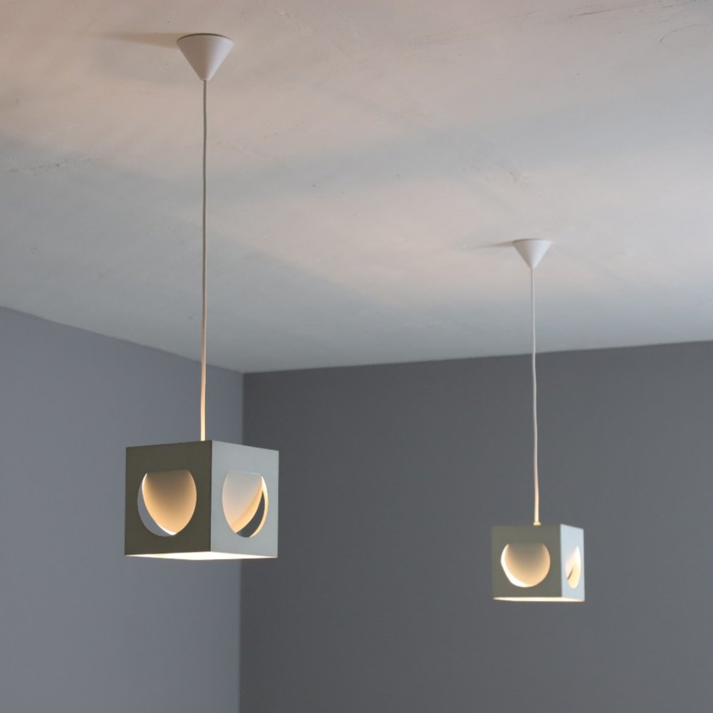 Pair of cube hanging lamps by Shogo Suzuki for Stockmann-Orno, 1960s