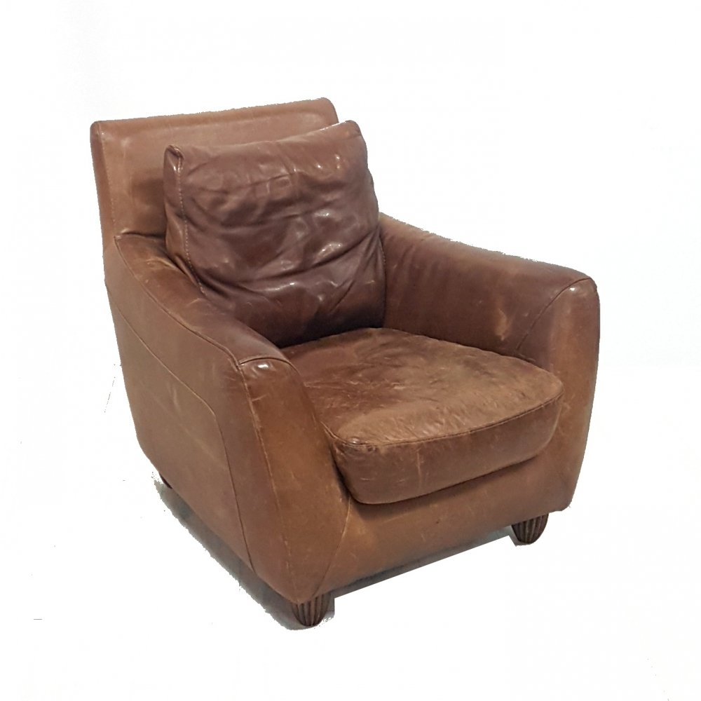 Robust leather lounge chair, Italy 1980s