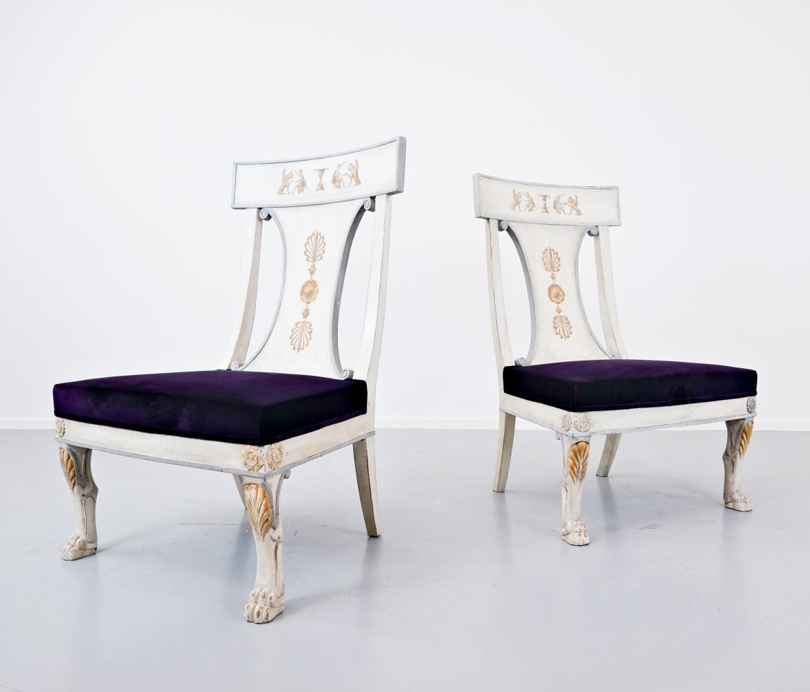 Pair of Russian Style Easy Chairs, Belgium 1990s
