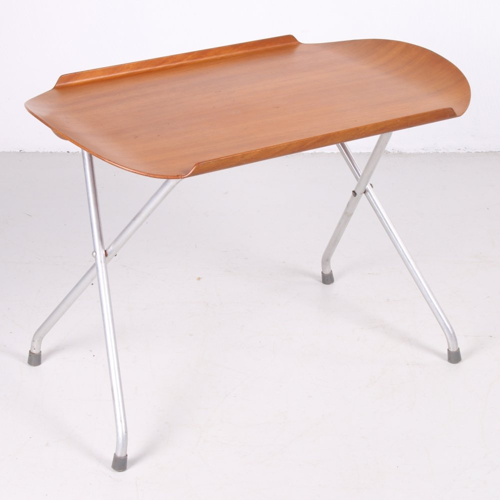 Vintage Scandinavian foldable side table with removable tray, 60s