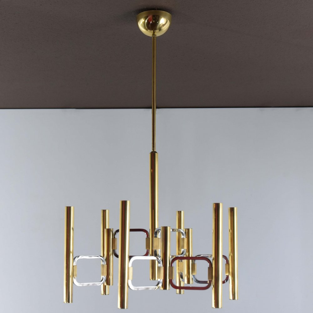 Two tone Sciolari chandelier in brass & chrome plated metal