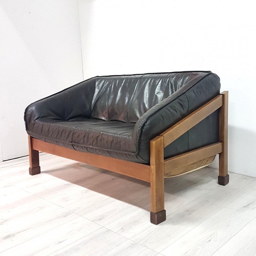 Brutalist wood & leather bucket sofa, 1970s