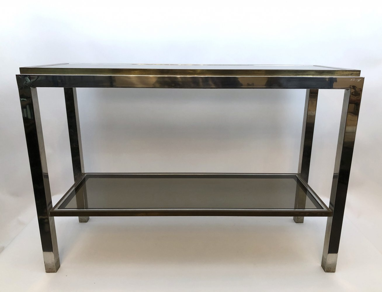 Vintage Italian modern brass & chrome console table by Willy Rizzo. Signed 1970s