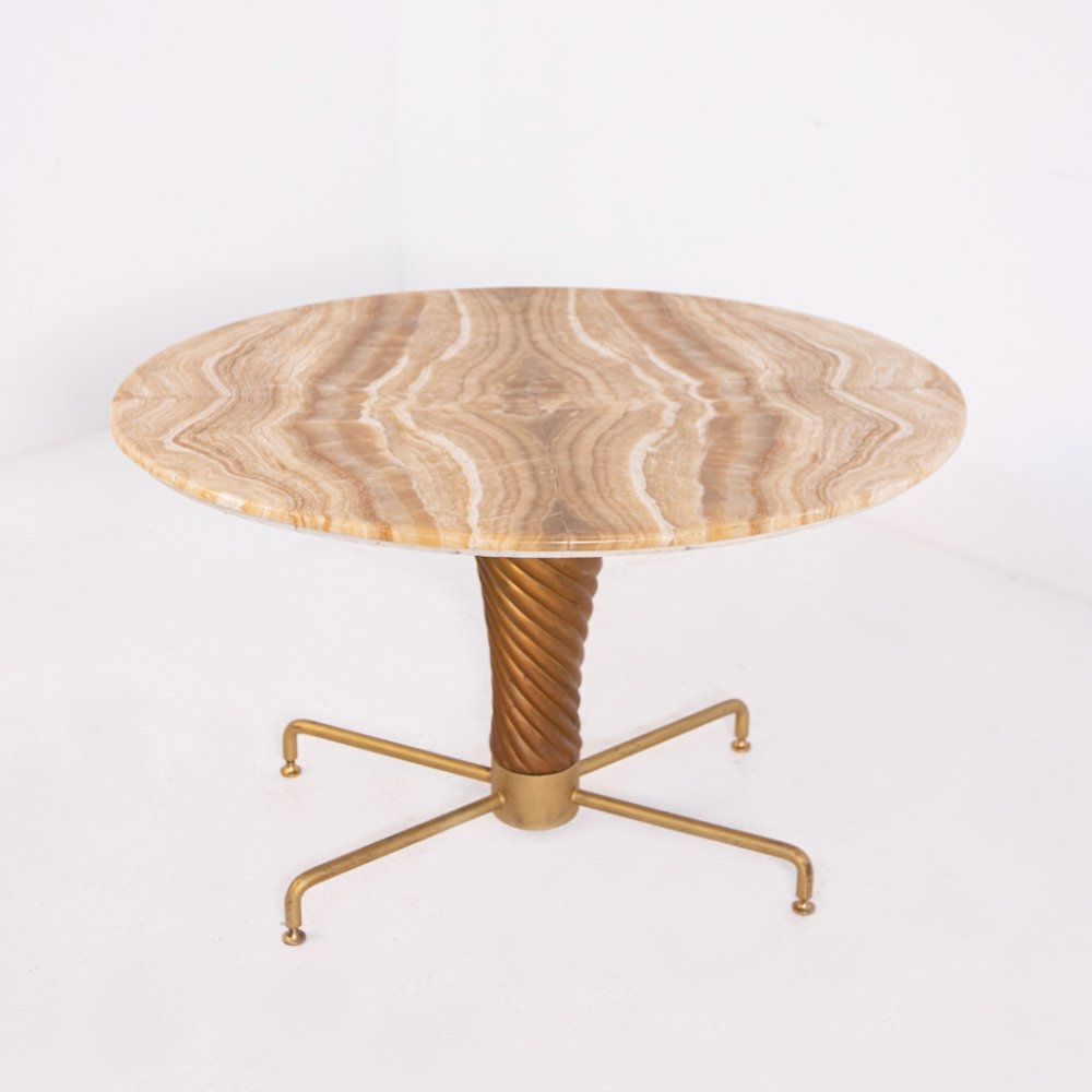 Table by Mario Quarti in Onyx & Brass, 1950s