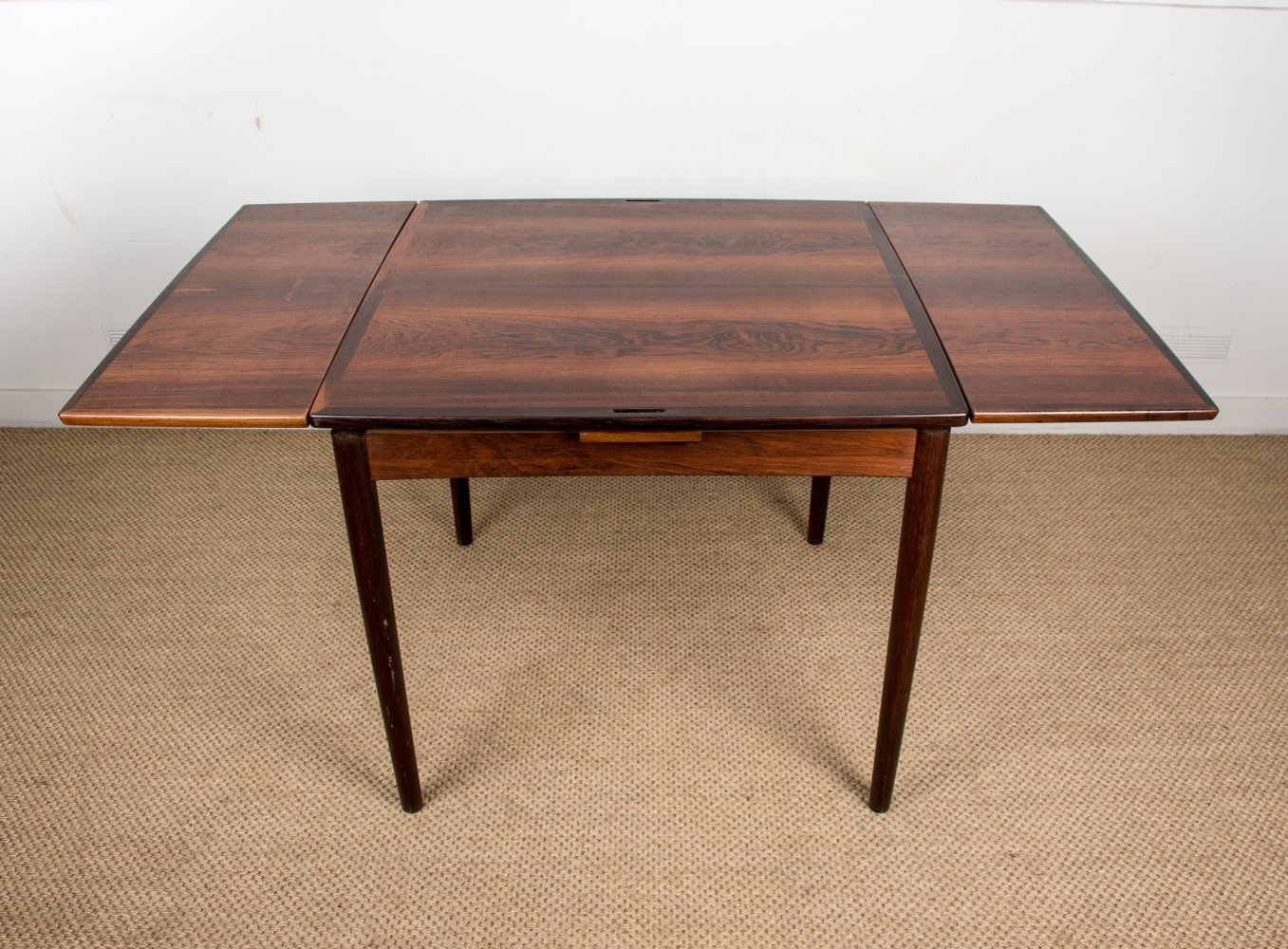 Extendable & Reversible Danish Table in rosewood by Poul Hundevad, 1960