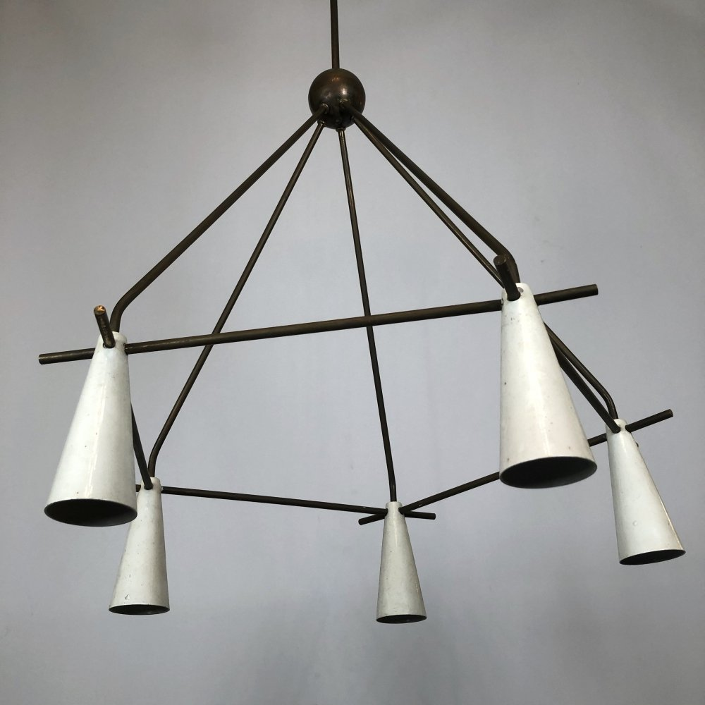 Mid-century inedited Italian brass & lacquer chandelier, 50s