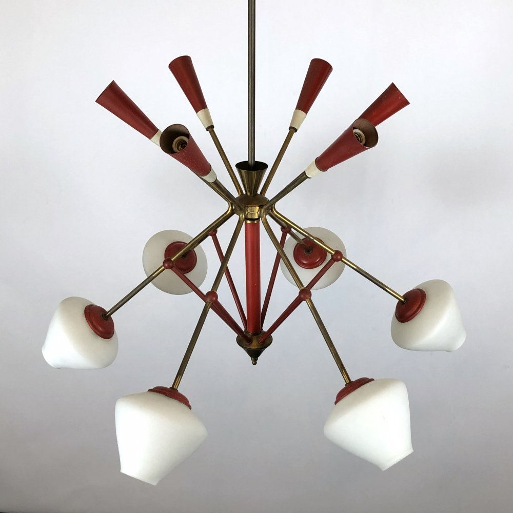 Midcentury Inedited Italian Red Gold Sputnik Chandelier 50s 154089