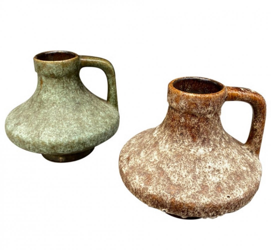 Set of two Mid-Century Modern Lava Ceramic German Jugs, 1970s
