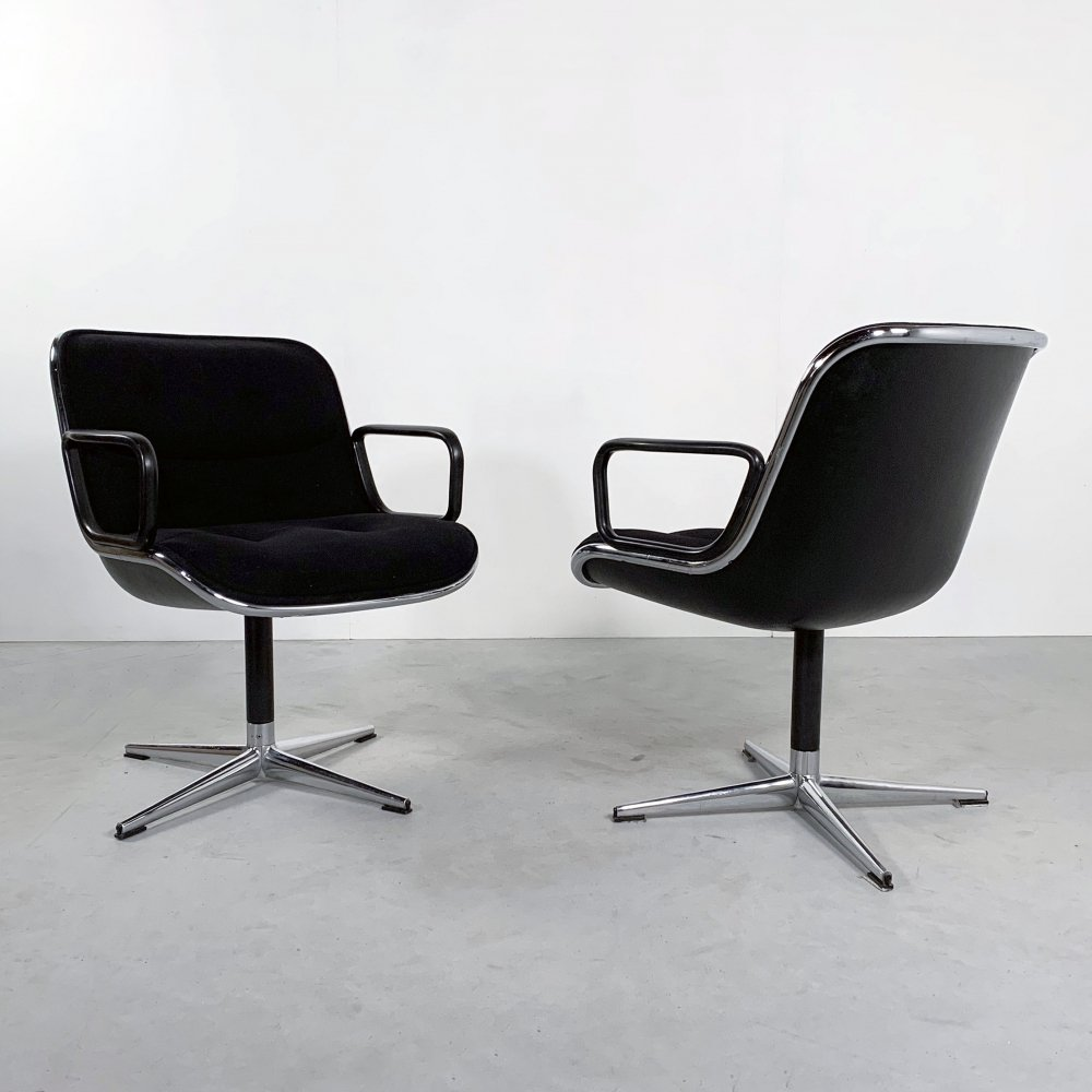 Black Fabric Office Chair by Charles Pollock for Knoll, 1970s