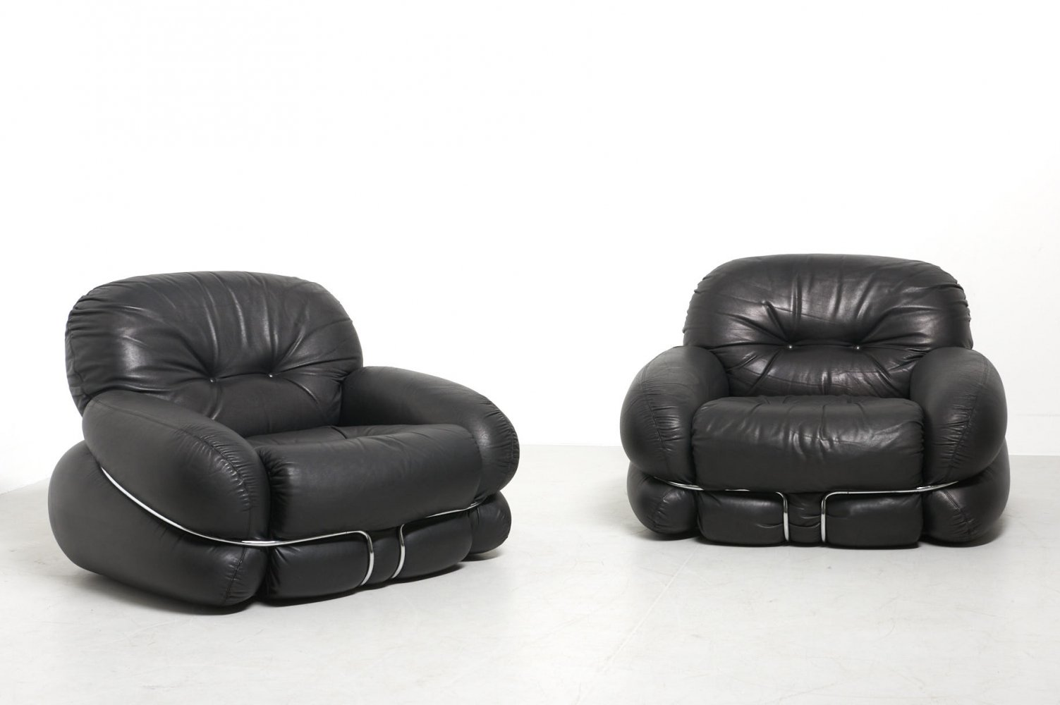 Pair of Easy Chairs in Black Leather, 1970