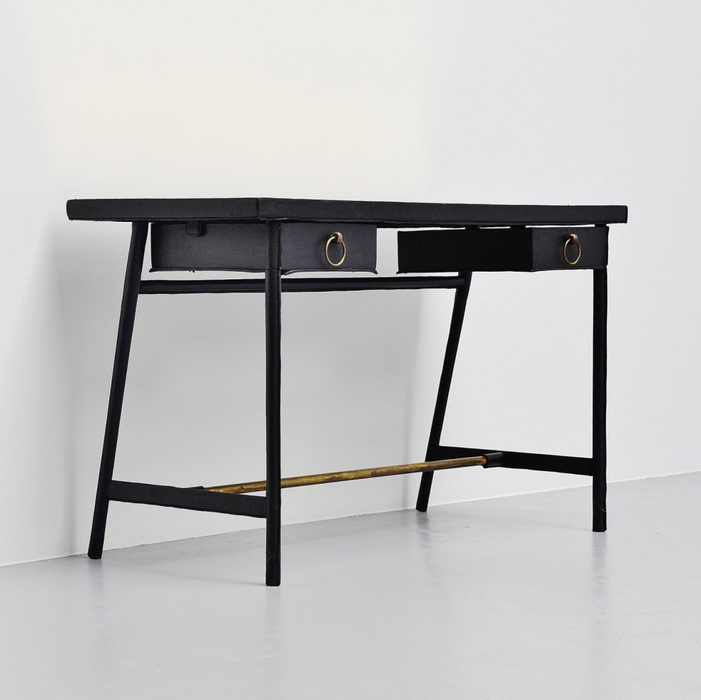 Jacques Adnet leather covered writing desk, France 1950