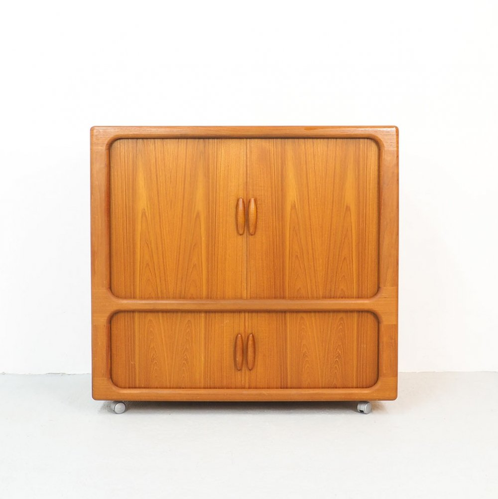 Danish Teak TV or Audio Cabinet with Tambour Doors from Dyrlund, 1960s