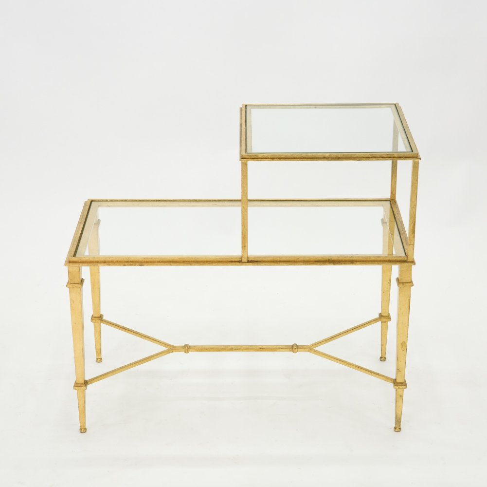 Roger Thibier gilt wrought iron & glass two-tier end table, 1960s