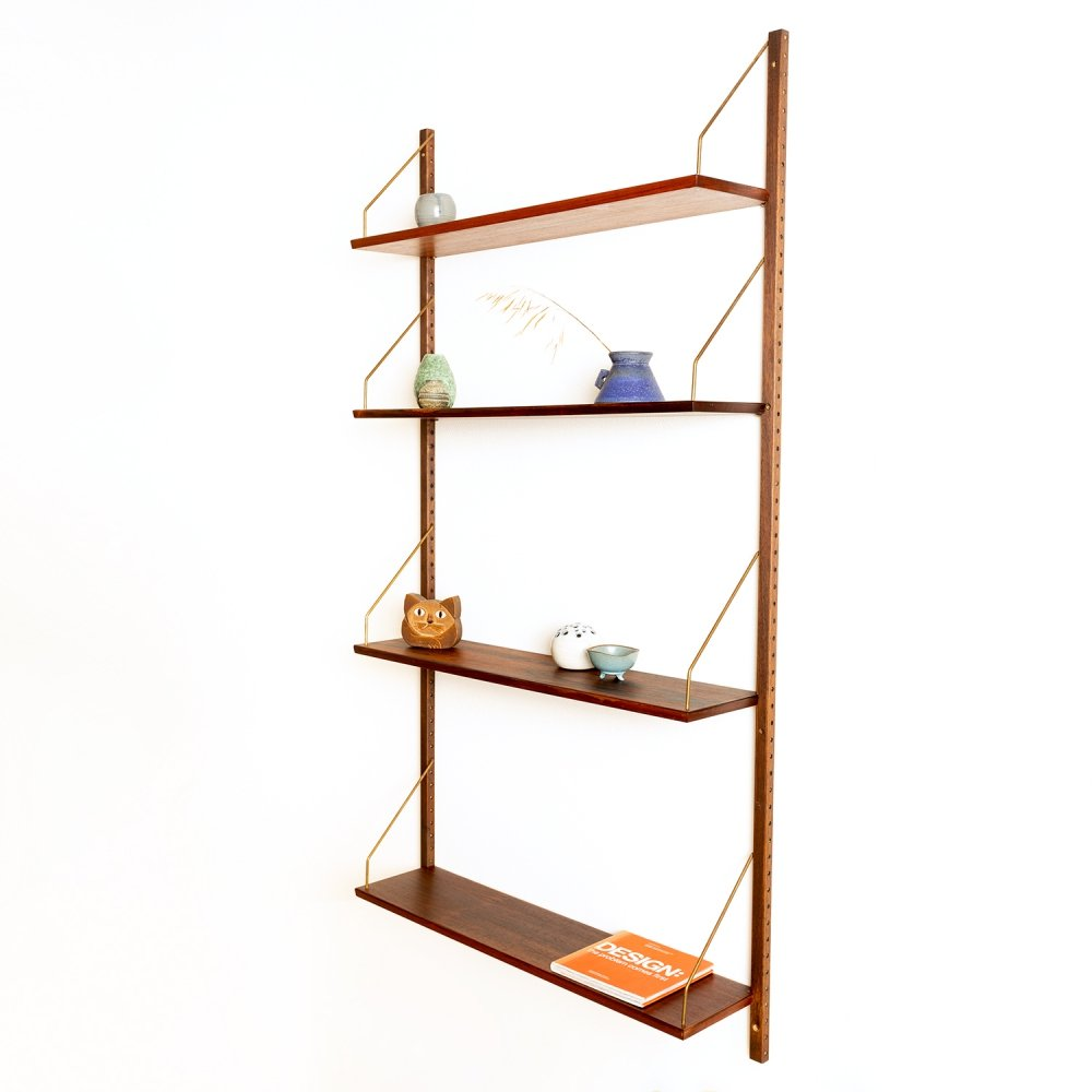 Vintage Danish rosewood wall system with four shelves, Denmark 1960s
