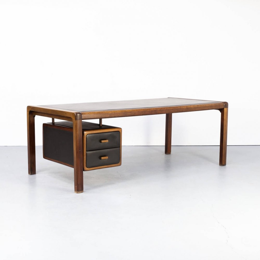 60s Executive writing desk with leather inlay table top