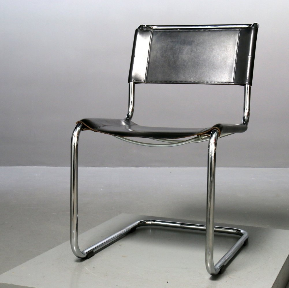 Thonet Chair S33 Cantilever Chair with Leather Cushion