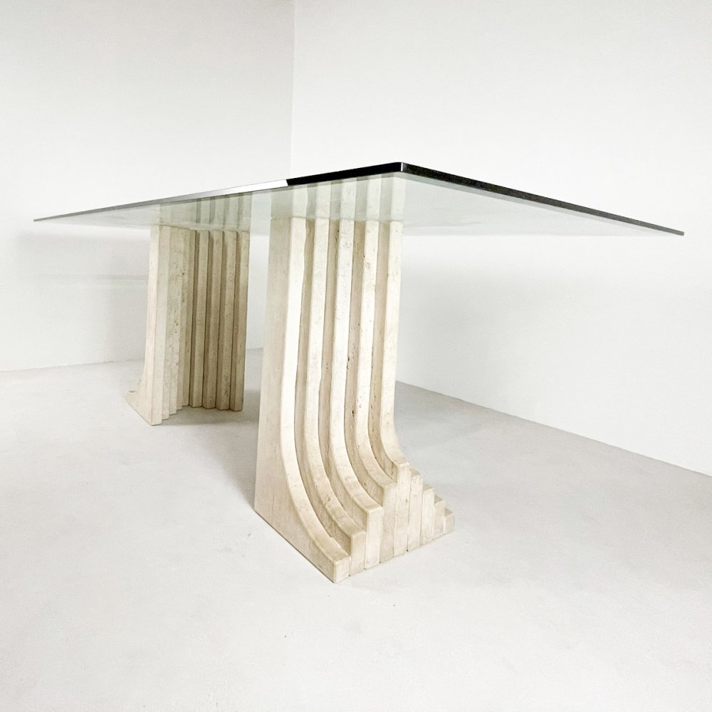 Sculptural travertine & glass dining table, 1980s