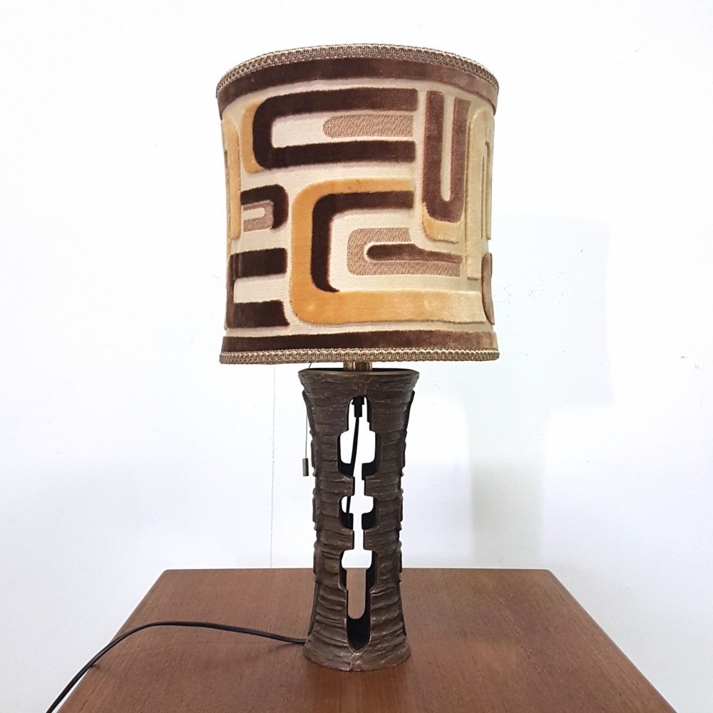 Brutalist cast bronze table lamp with graphic design shade, 1970s