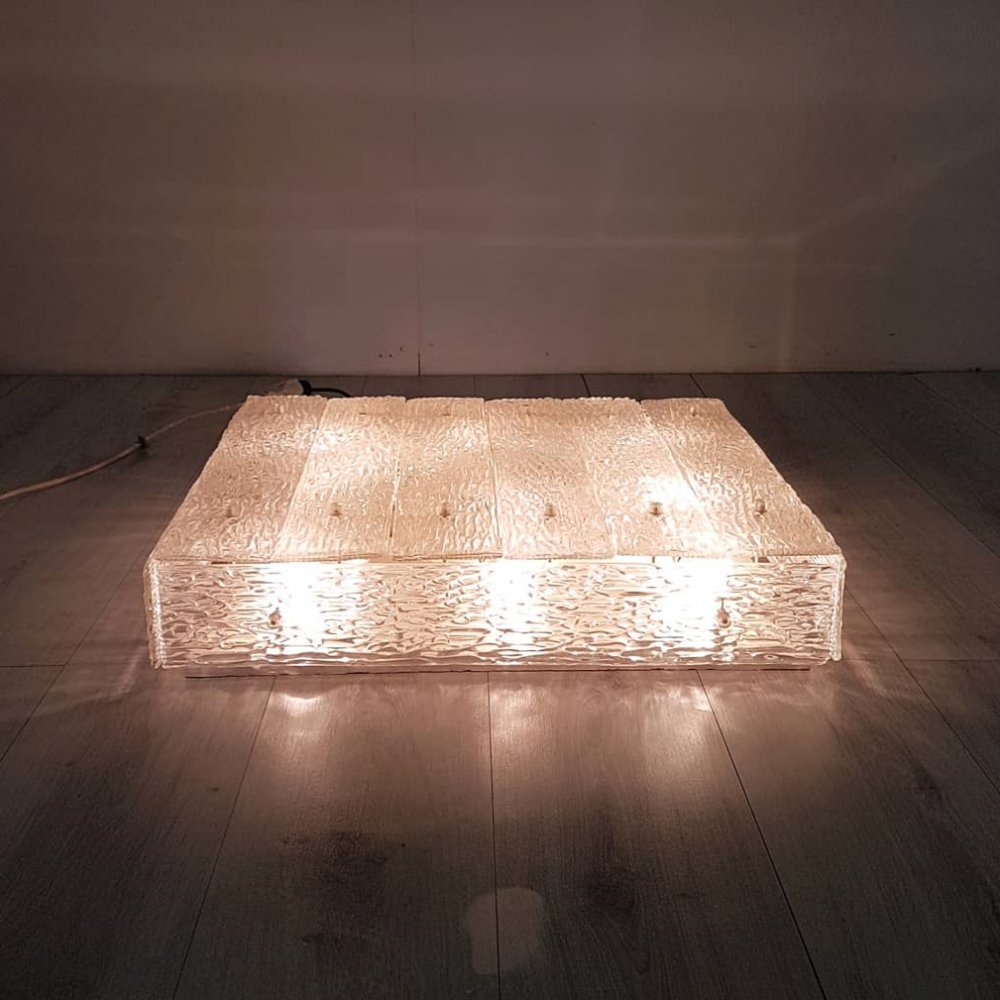 Large relief glass ceiling lamp by Kalmar, Switzerland 1970s
