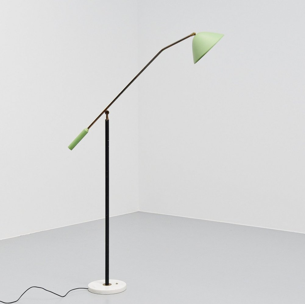 Stilux adjustable floor lamp in mint green, Italy 1960