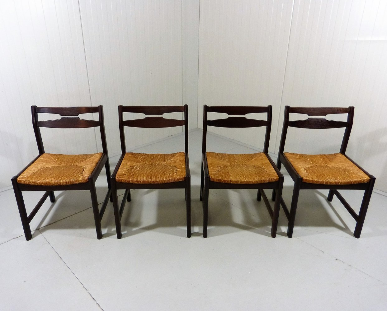 Set of 4 wenge wooden dining chairs, 1960