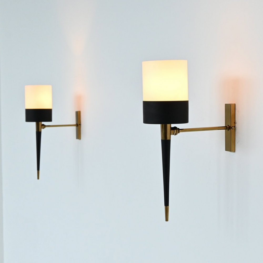 Pair of French brass sconces, 1950