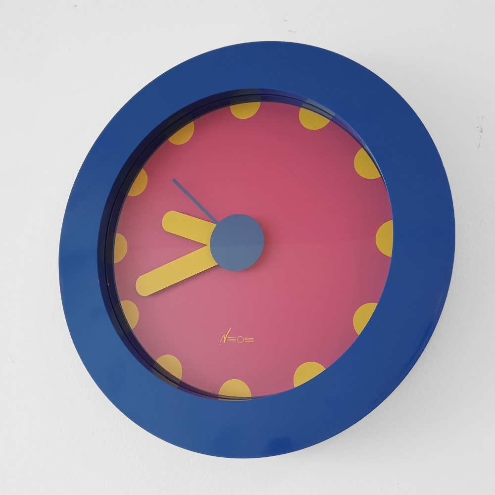 Nathalie DU Pasquier & George Sowden Pink/Blue Wall Clock by NEOS, Italy 1988