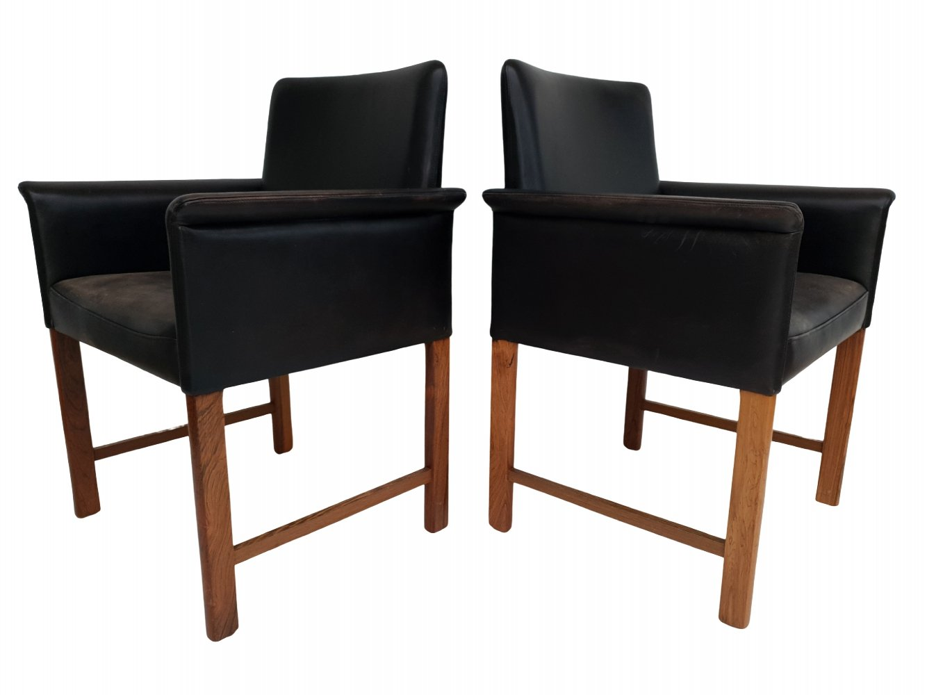Danish leather & rosewood conference chairs by Hans Olsen, 1960s
