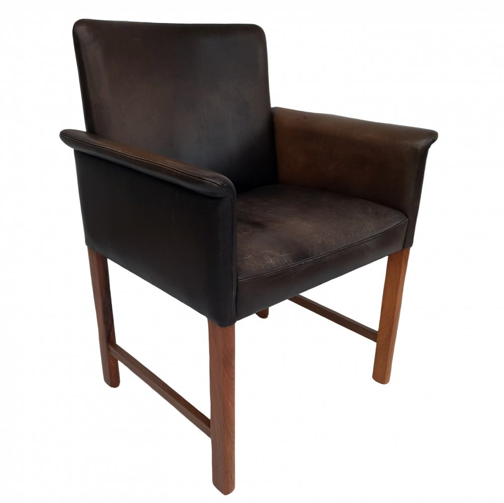 Danish leather & rosewood conference chair by Hans Olsen, 1960s