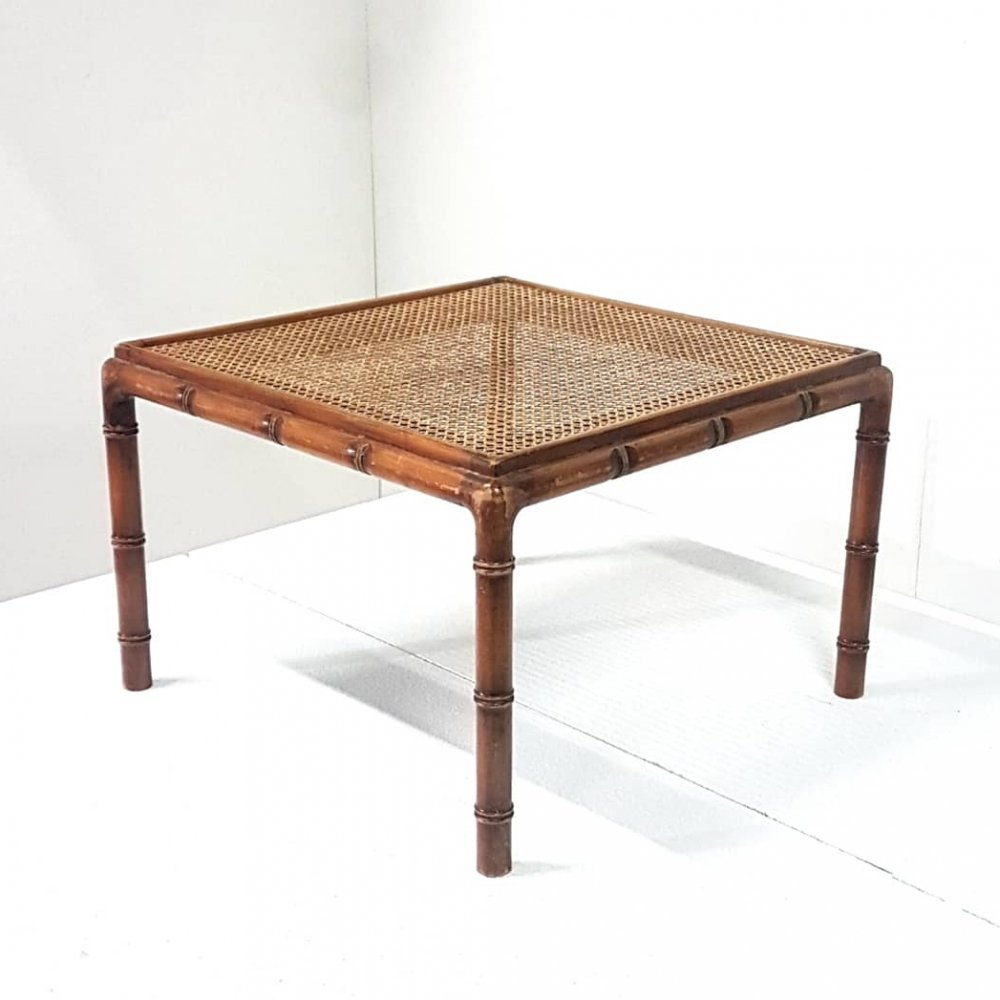 Faux bamboo side table with rattan top, 1960s