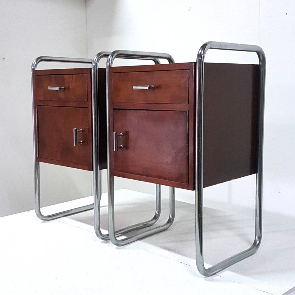 Set of 2 Bauhaus nightstands by Auping, Netherlands 1950s