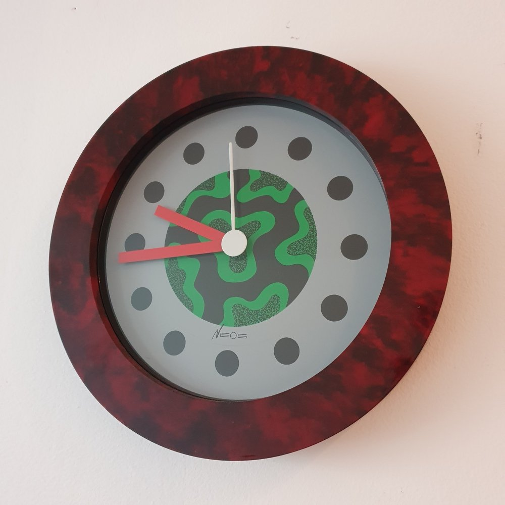 Nathalie du Pasquier & George Sowden Black/Chrome Wall Clock by NEOS, Italy 1988