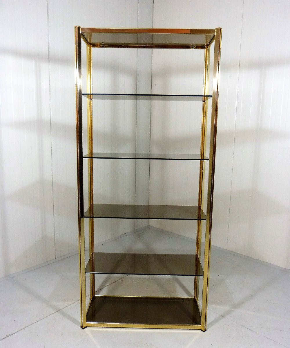 Large brass & smoked glass display, 1970