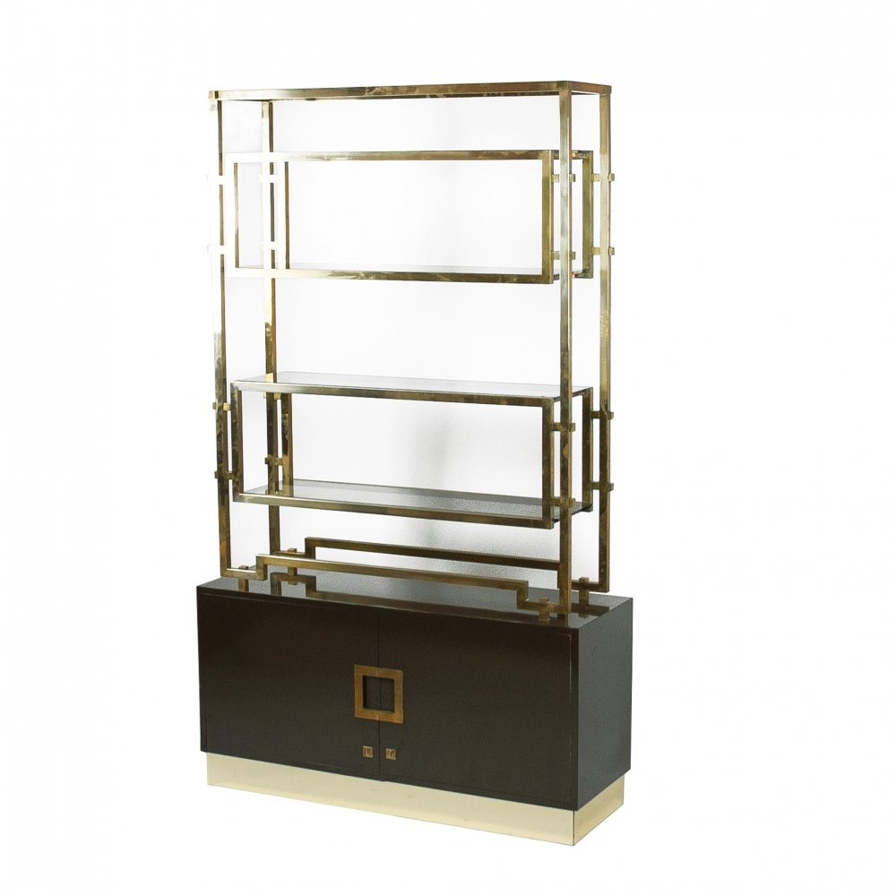 Maison Jansen Brass Etagère Or Bookshelf, France 1970