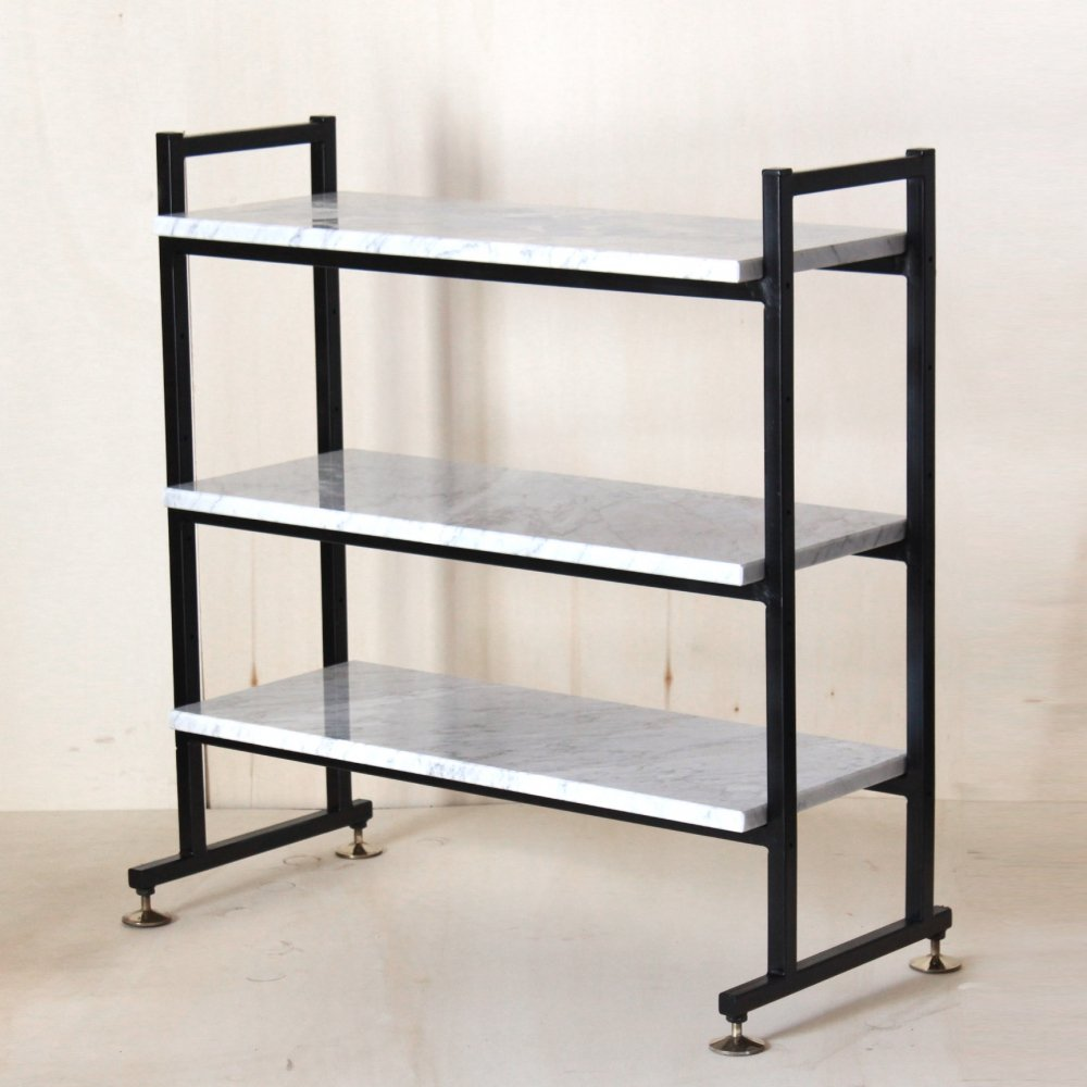 1960 vintage bookcase with Carrara marble shelves