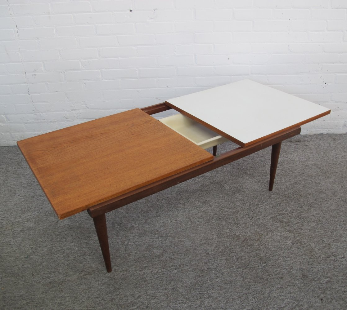 Vintage teak coffee table with tilting top & storage compartment, 1960s