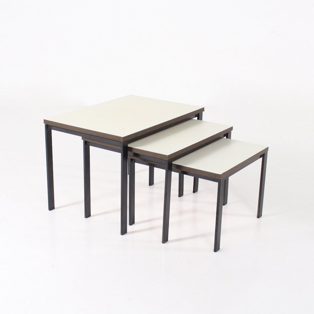 3 lacquered steel, wood & melamine nesting coffee tables, 1960s