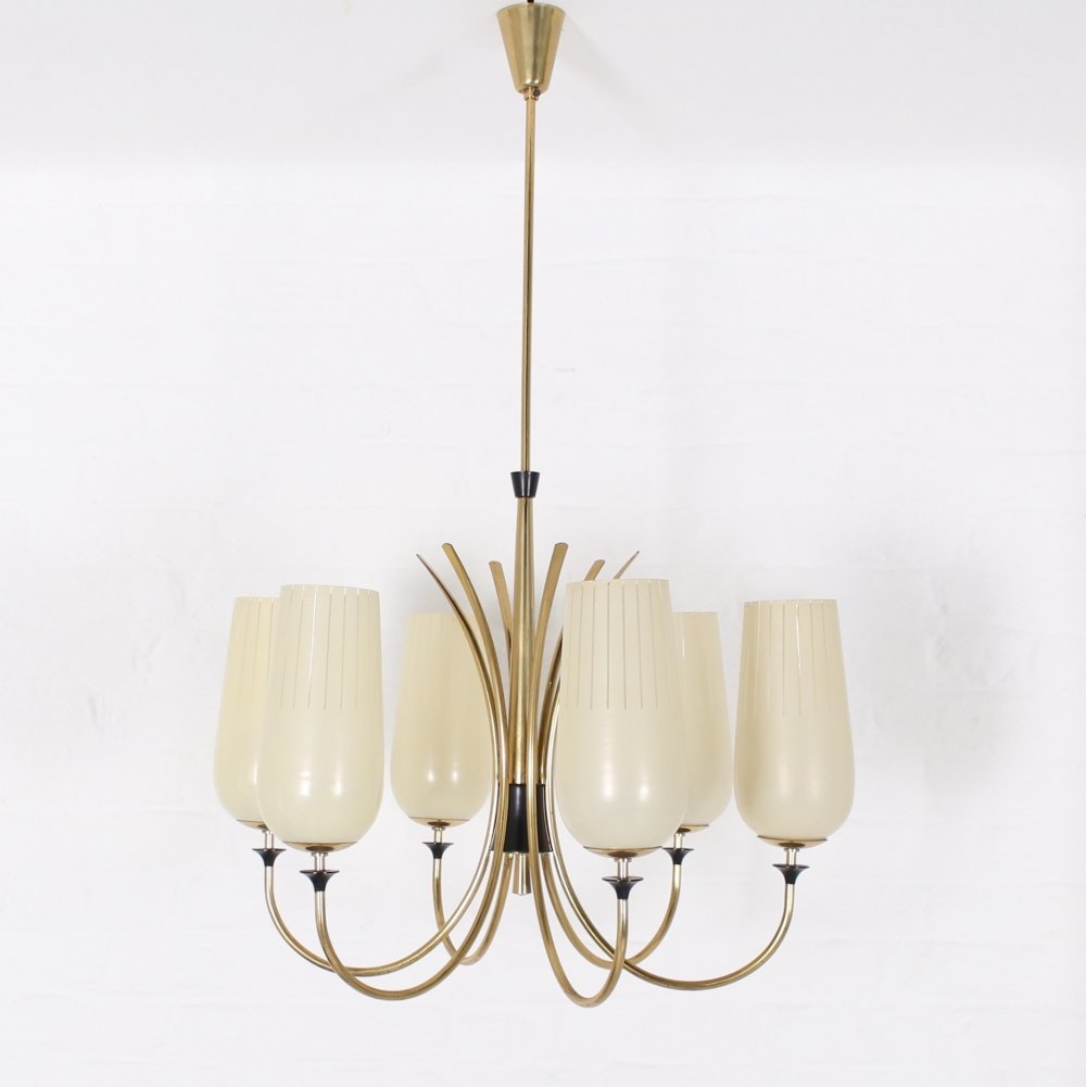 Brass & semi-openwork frosted glass 6 lights chandelier, 1960