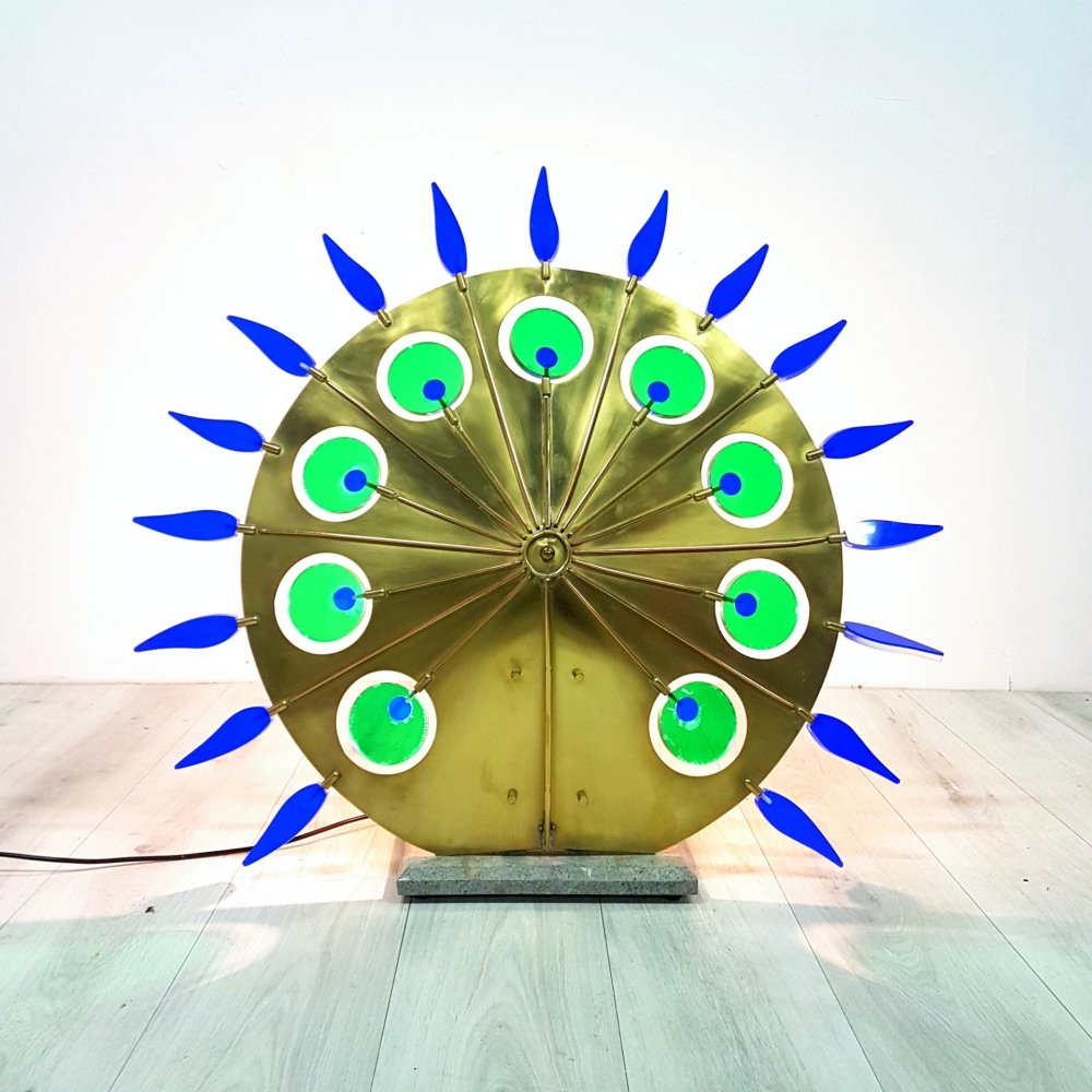 Large custom made brass sunwheel table or floor lamp, 1980s