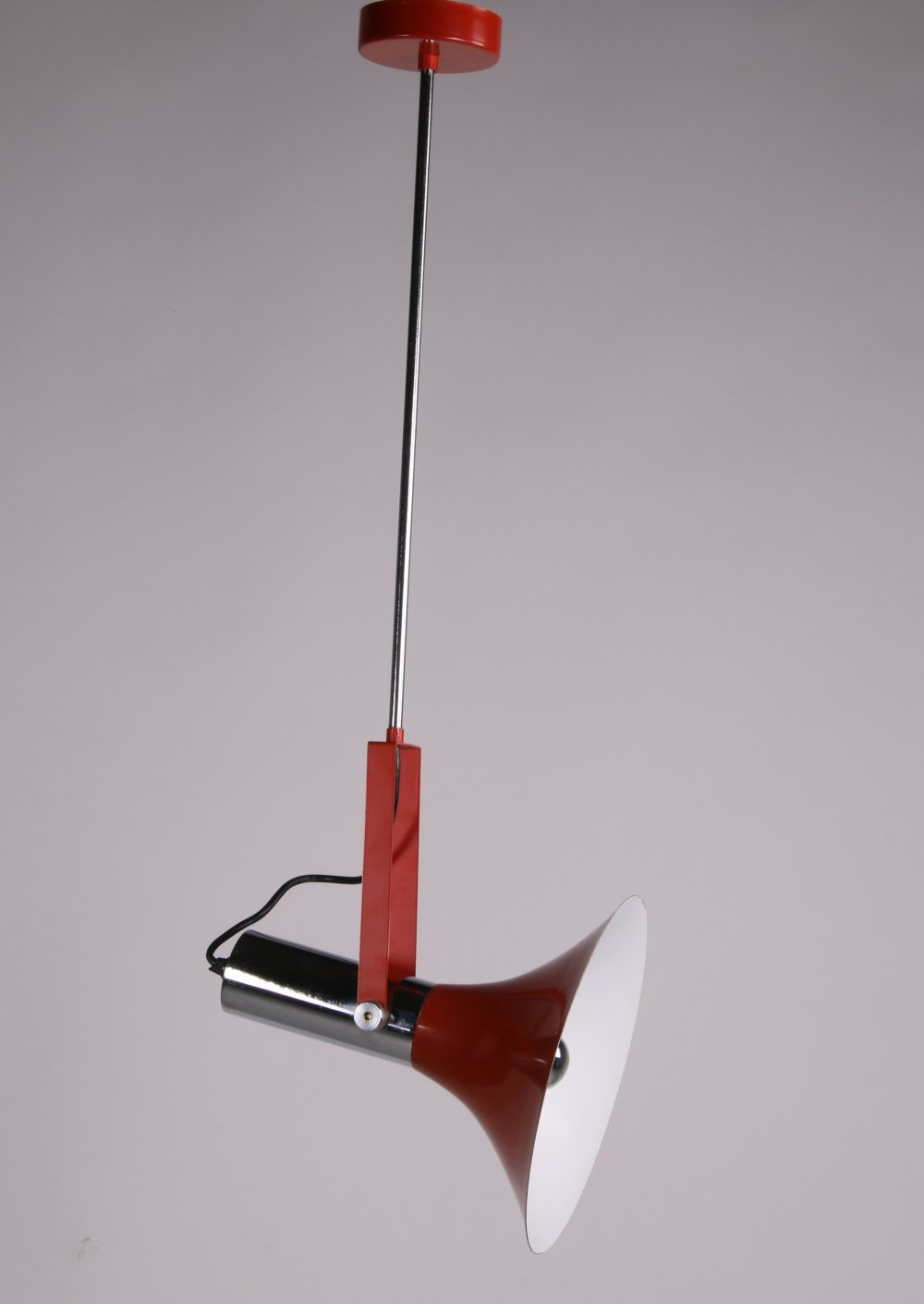 Vintage hanging lamp in red with chrome, 1960s