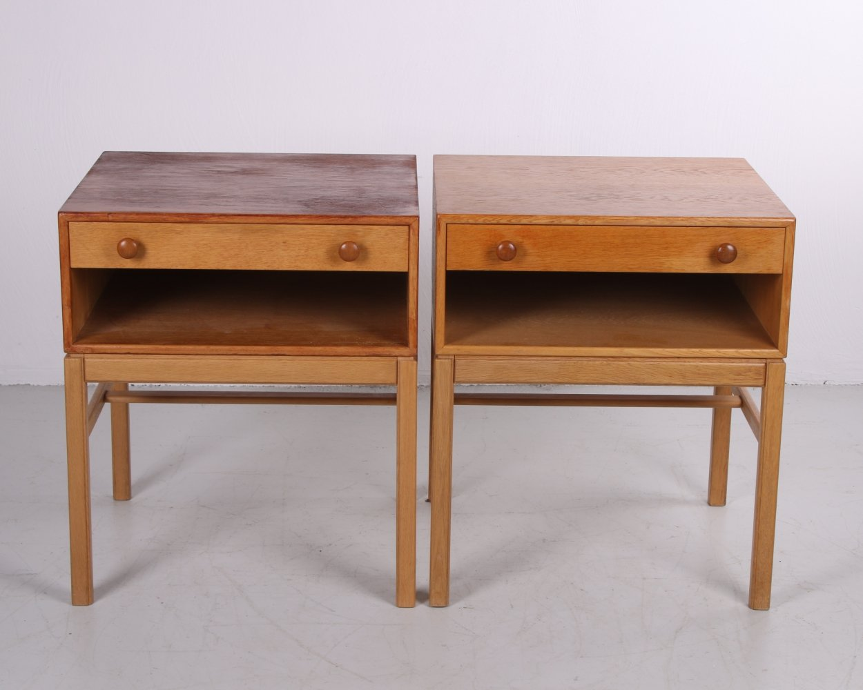 Pair of Swedish design bedside tables with drawer & wooden handles, 1960s