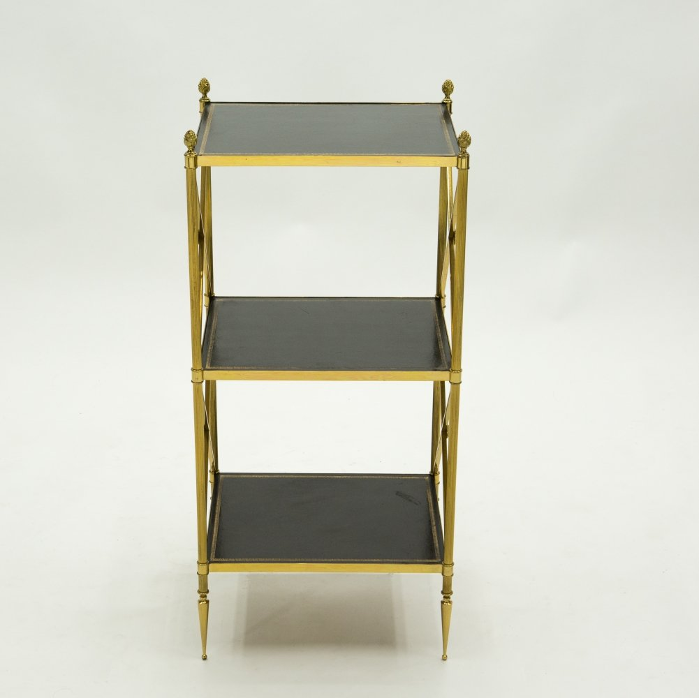 French three-tier Maison Jansen brass & leather side table, 1970s
