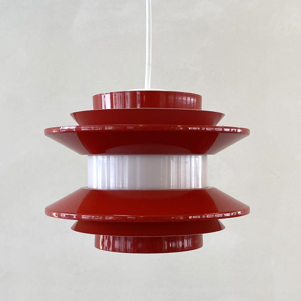 Red & white hanging lamp by Carl Thore for Granhaga Sweden, 1970s