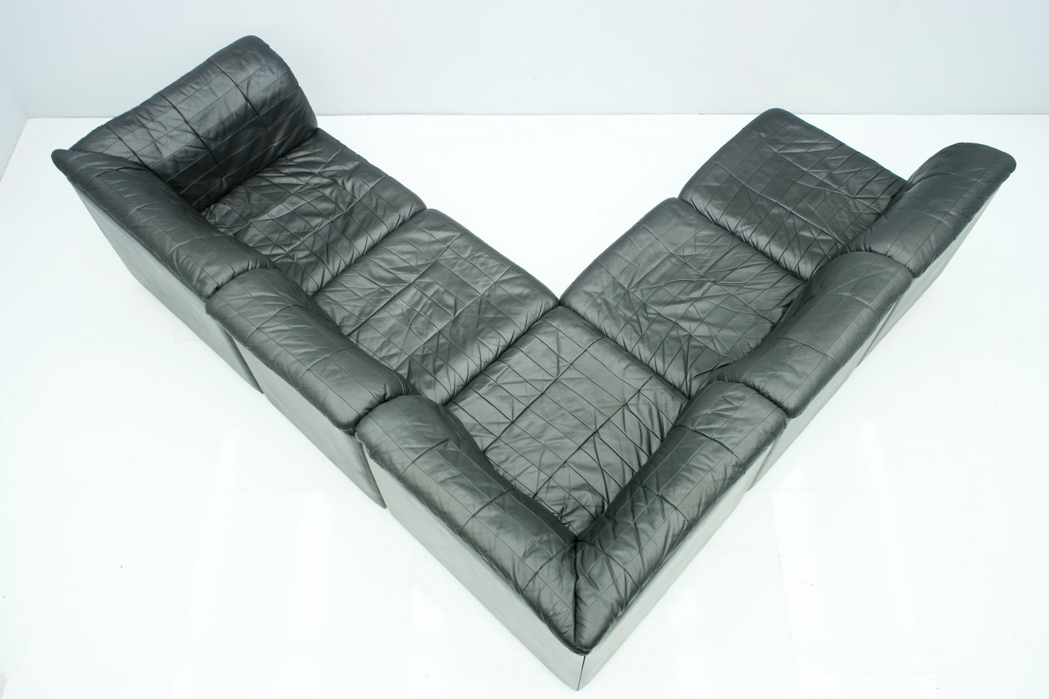 Black Leather Patchwork Sectional Sofa with 5 Elements, 1970s